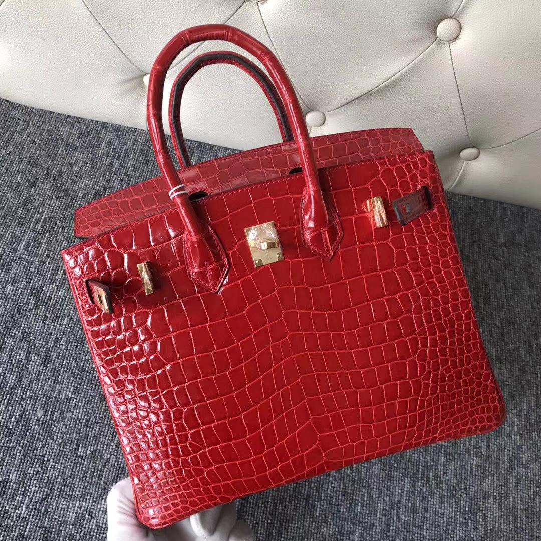 Pretty Hermes Shiny Crocodile Birkin25CM Tote Bag in CK95 Braise Gold Hardware