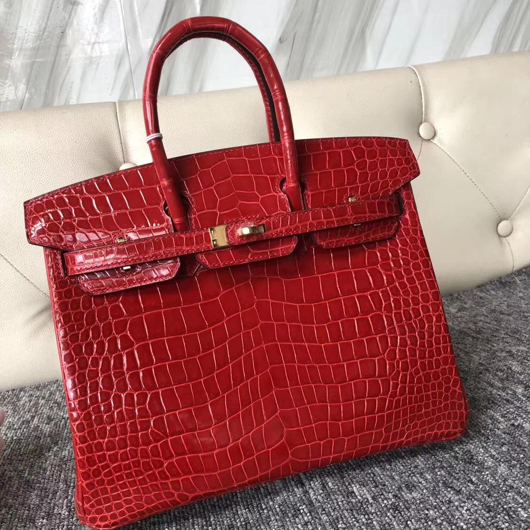 Wholesale Hermes CK95 Braise Shiny Crocodile Birkin Bag25CM Gold Hardware