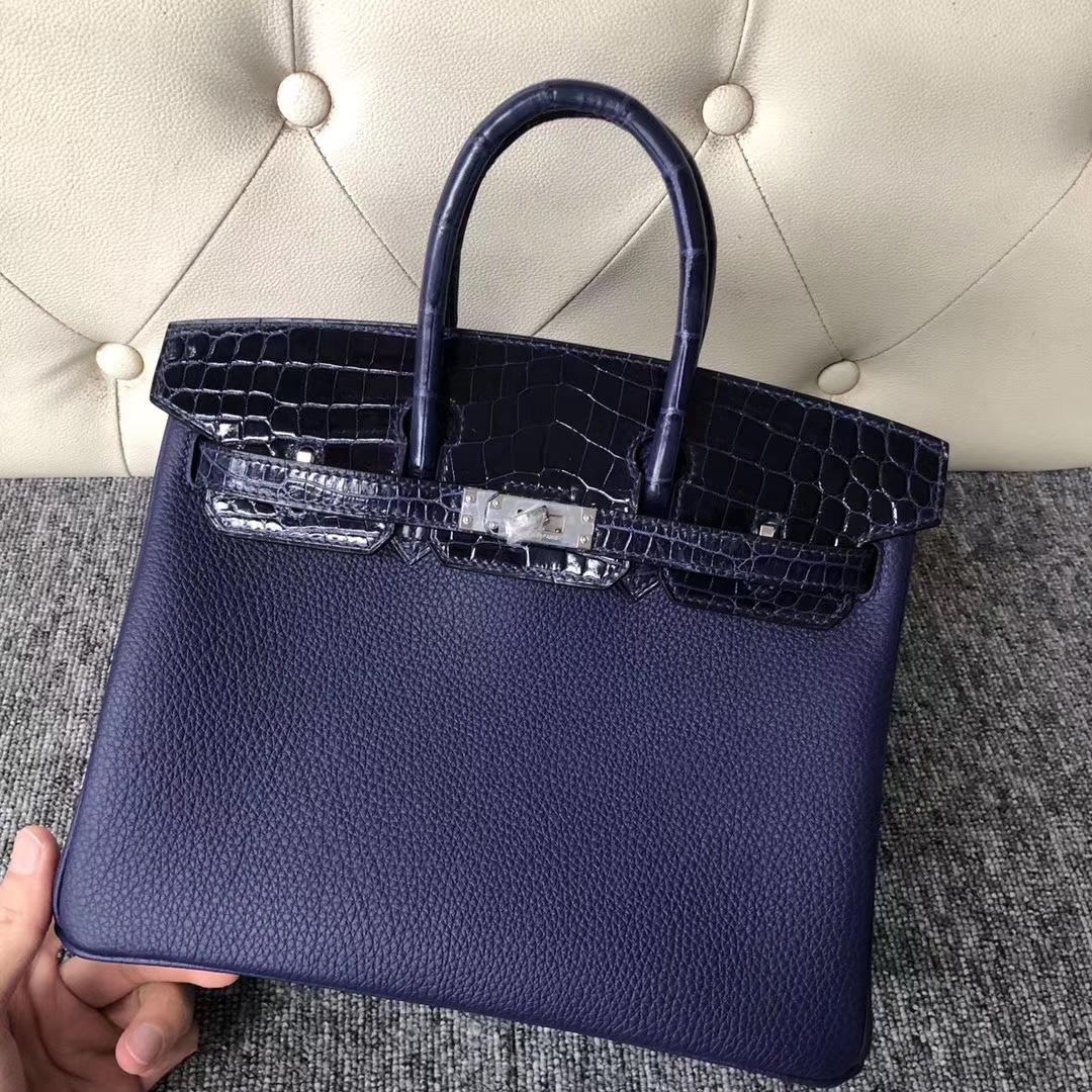 Hermes Touch SeriesBirkin Bag25CM Blue Crocodile/Togo Leather Silver Hardware