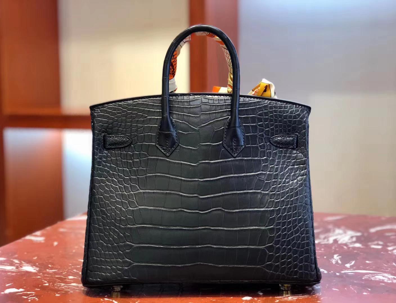 Stock Hermes CK89 Noir Matt Alligator Crocodile Birkin25cm Bag Gold Hardware