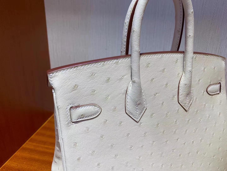 Stock Hermes 3C Wool White KK Ostrich Birkin25CM Bag Gold Hardware