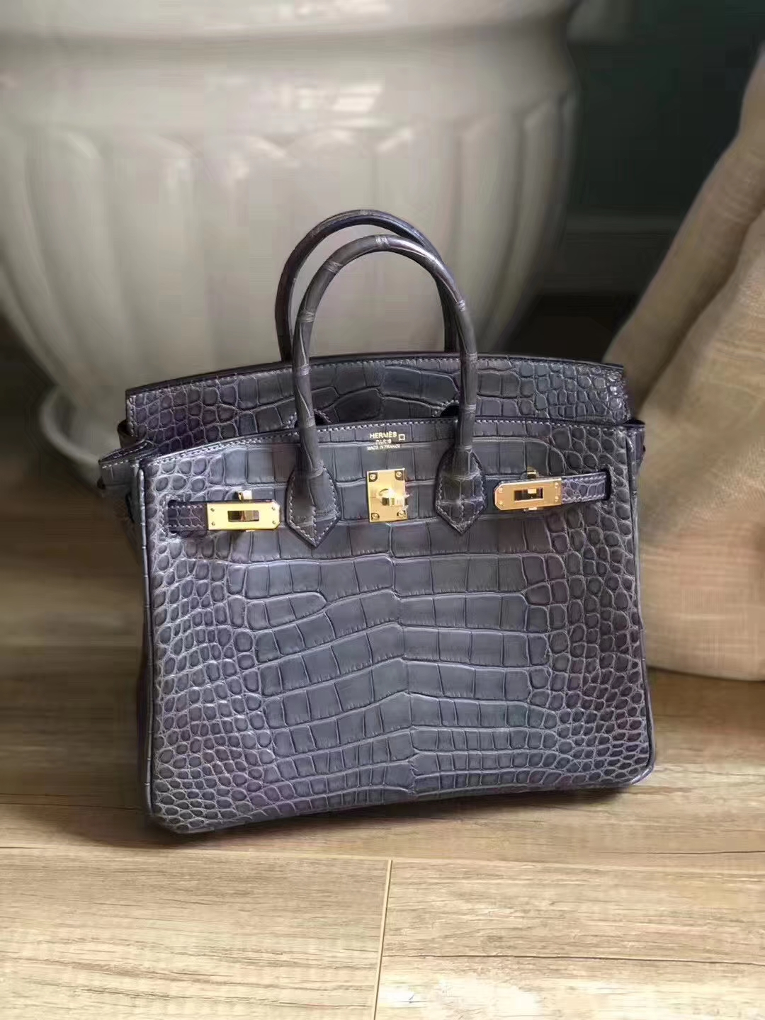 Customize Hermes CK88 Gris Graphite Matt Crocodile Birkin Bag25CM Gold Hardware