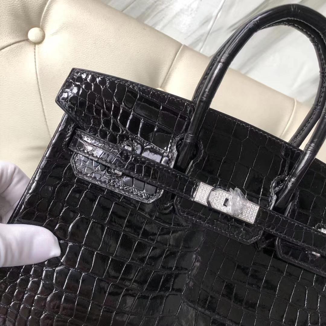 Customize Hermes CK89Black Shiny Crocodile Birkin Bag25CM Silver Diamond Buckle