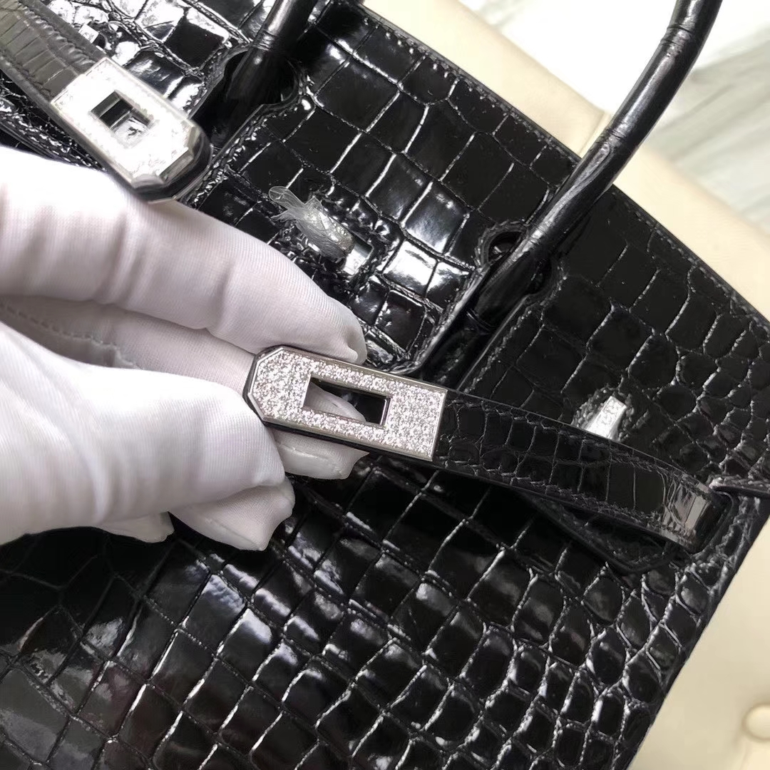Customize Hermes CK89 Black Shiny Crocodile Birkin Bag25CM Silver Diamond Buckle