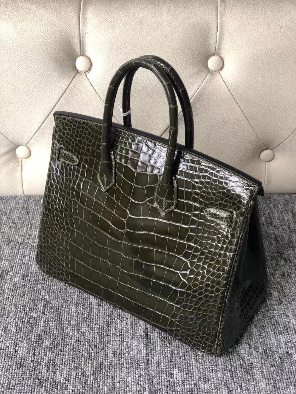 Stock Hermes Vert Olive Shiny Alligator Crocodile Birkin Bag25cm Gold Hardware