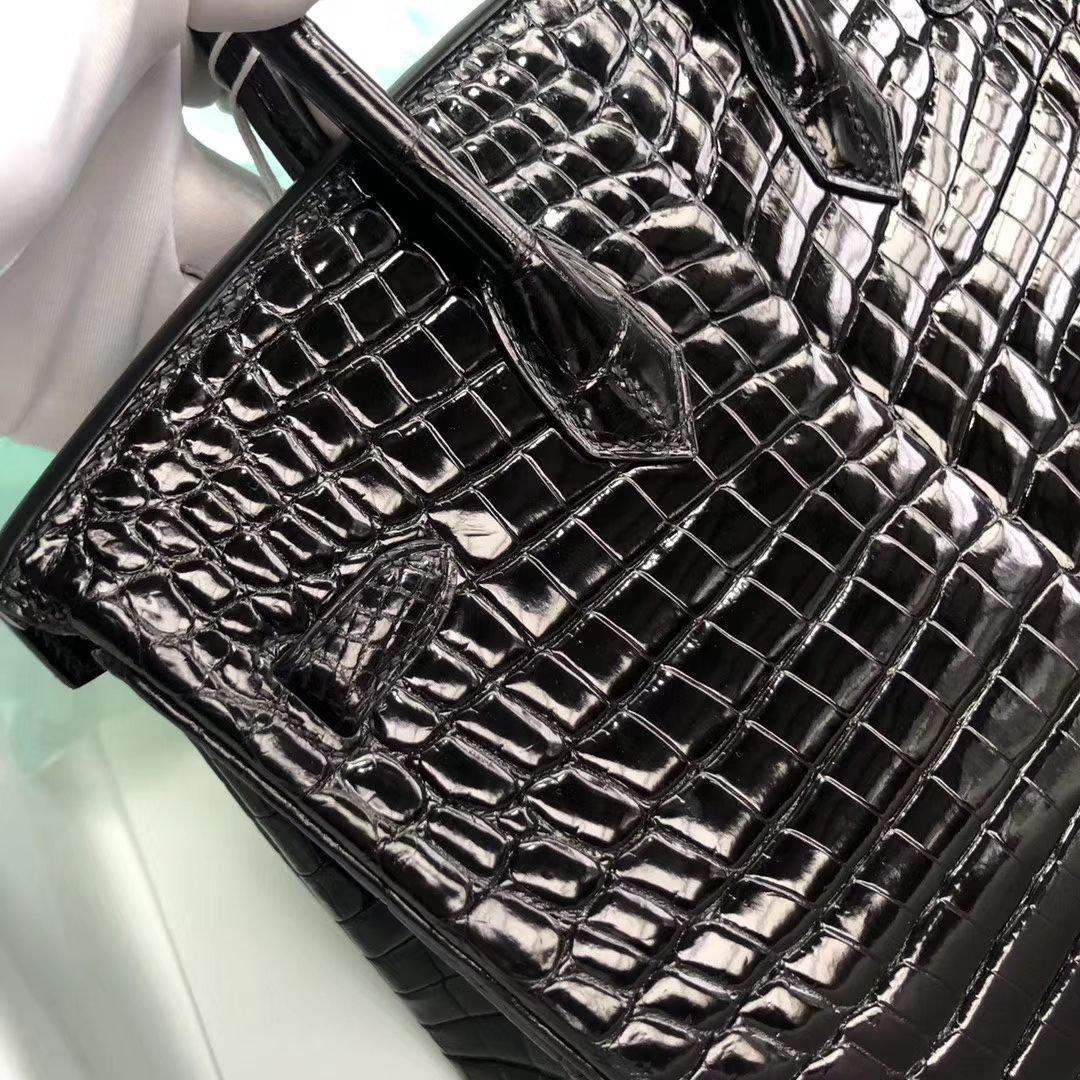 Stock Hermes CK89 Noir Shiny Crocodile Birkin Tote Bag25CM Gold Hardware