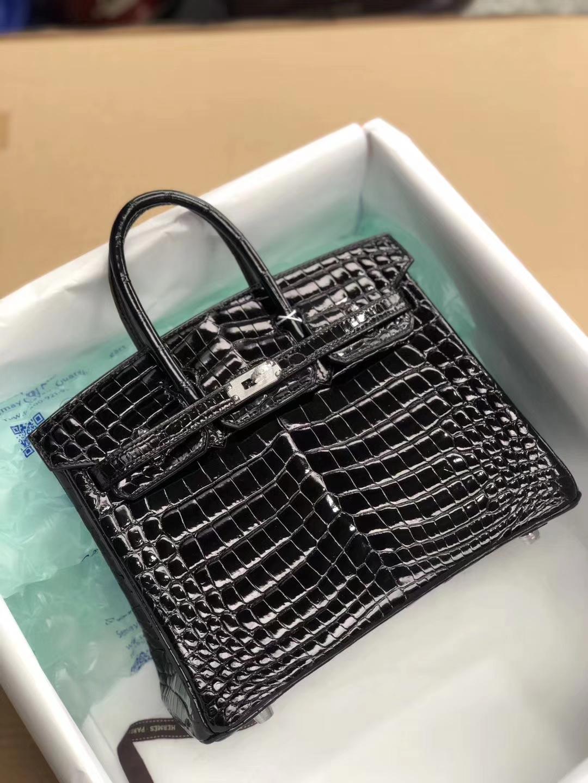 Luxury Hermes Shiny Crocodile Birkin25cm Bag in CK89 Noir Silver Hardware