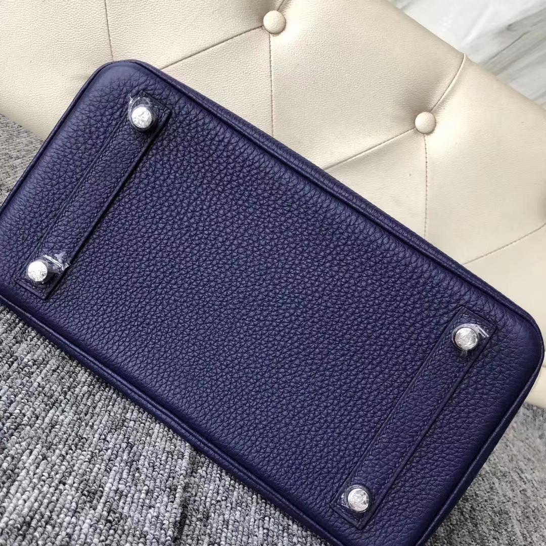 Customize Hermes M3 Blue Encre Shiny Crocodile/Togo Touch SeriesBirkin25CM Bag