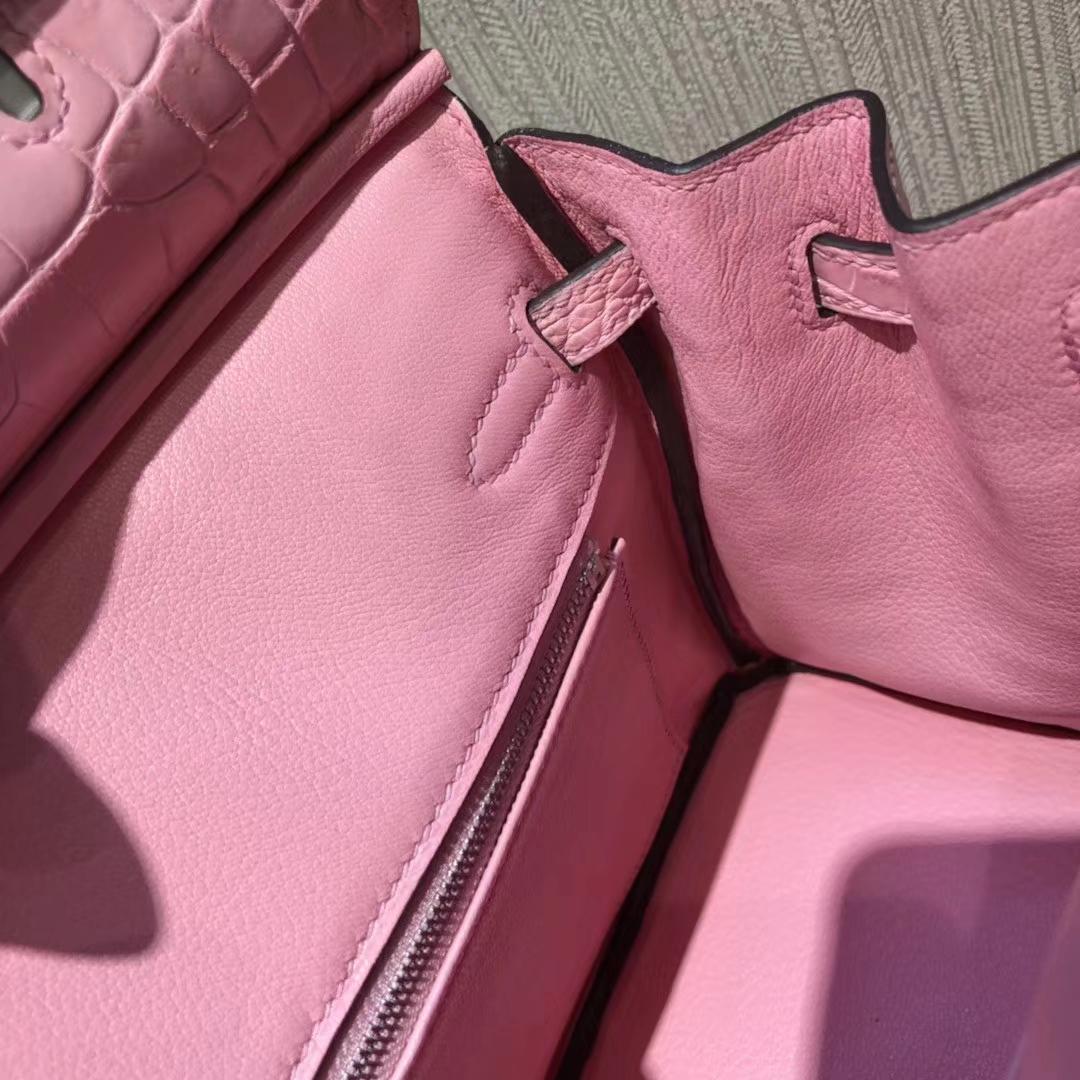Stock Hermes 5P Rose Sakura Matt Crocodile Birkin25CM Bag Silver Hardware