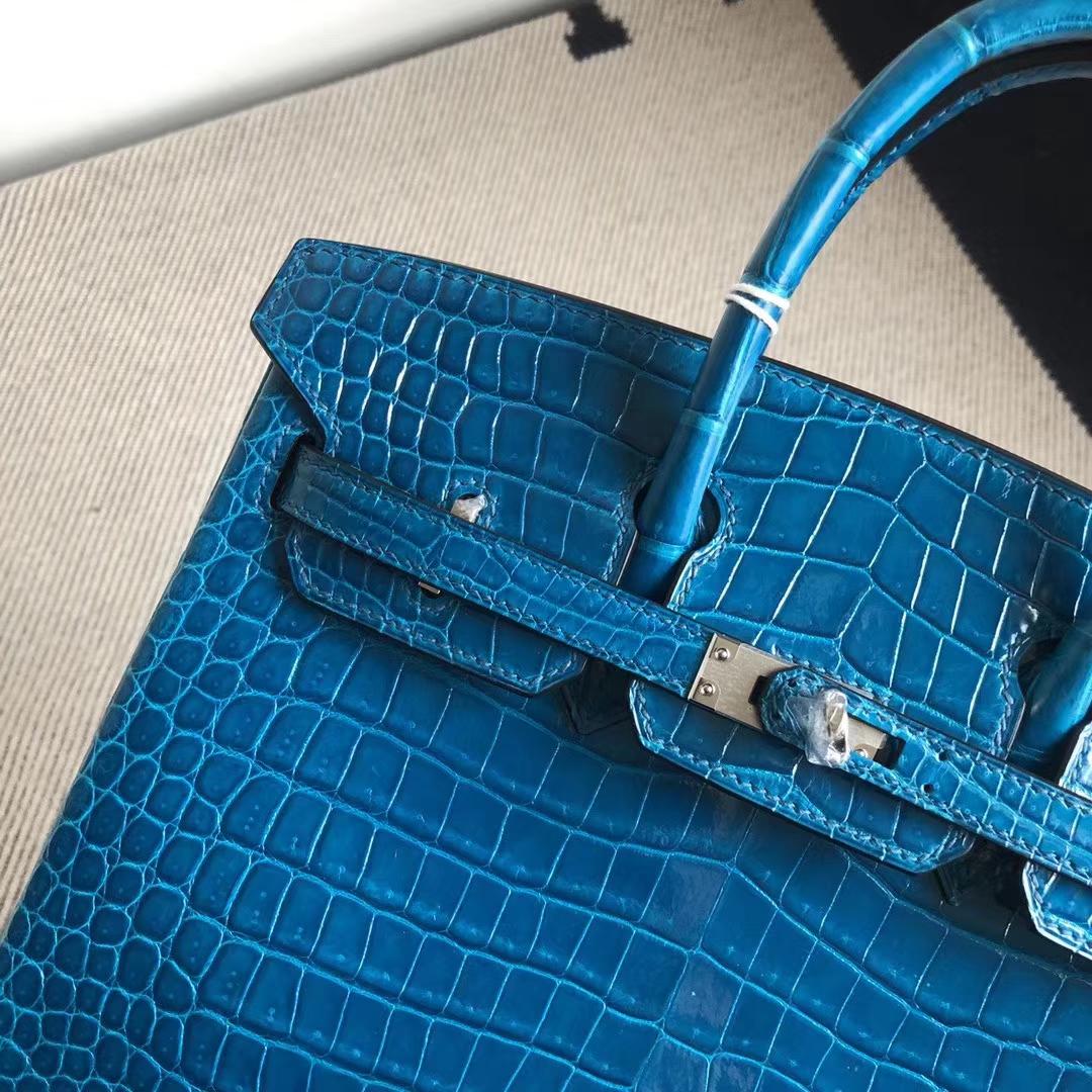 Stock Hermes Shiny Crocodile Birkin Bag25CM in 7W Blue Izmir Silver Hardware