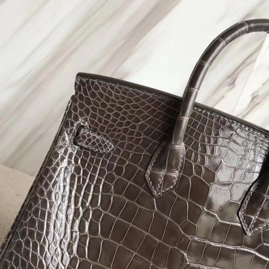 Stock Hermes 8P Pencil Grey Shiny Crocodile Birkin25cm Bag Gold Hardware