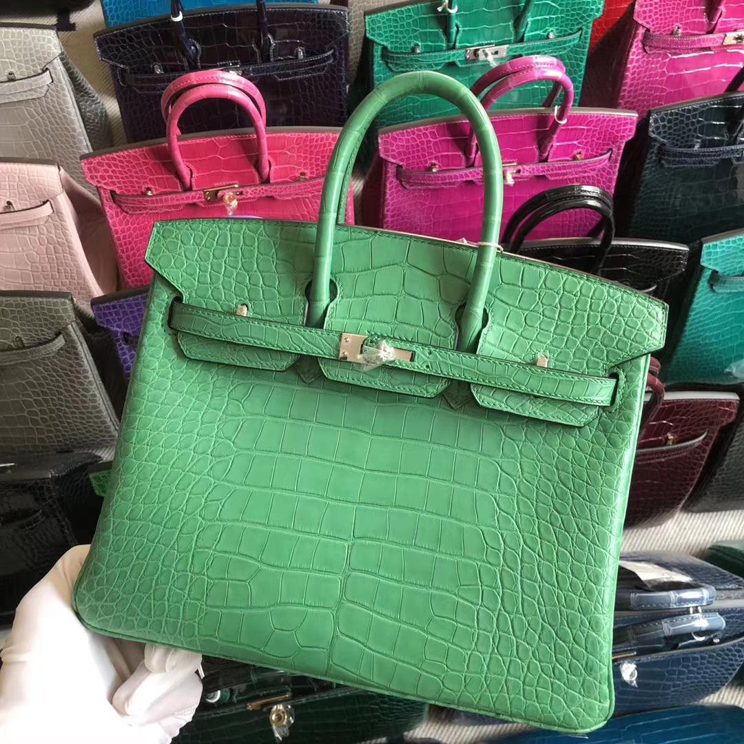 Stock Hermes 1K Bamboo Green Matt Crocodile Birkin Bag25CM Silver Hardware