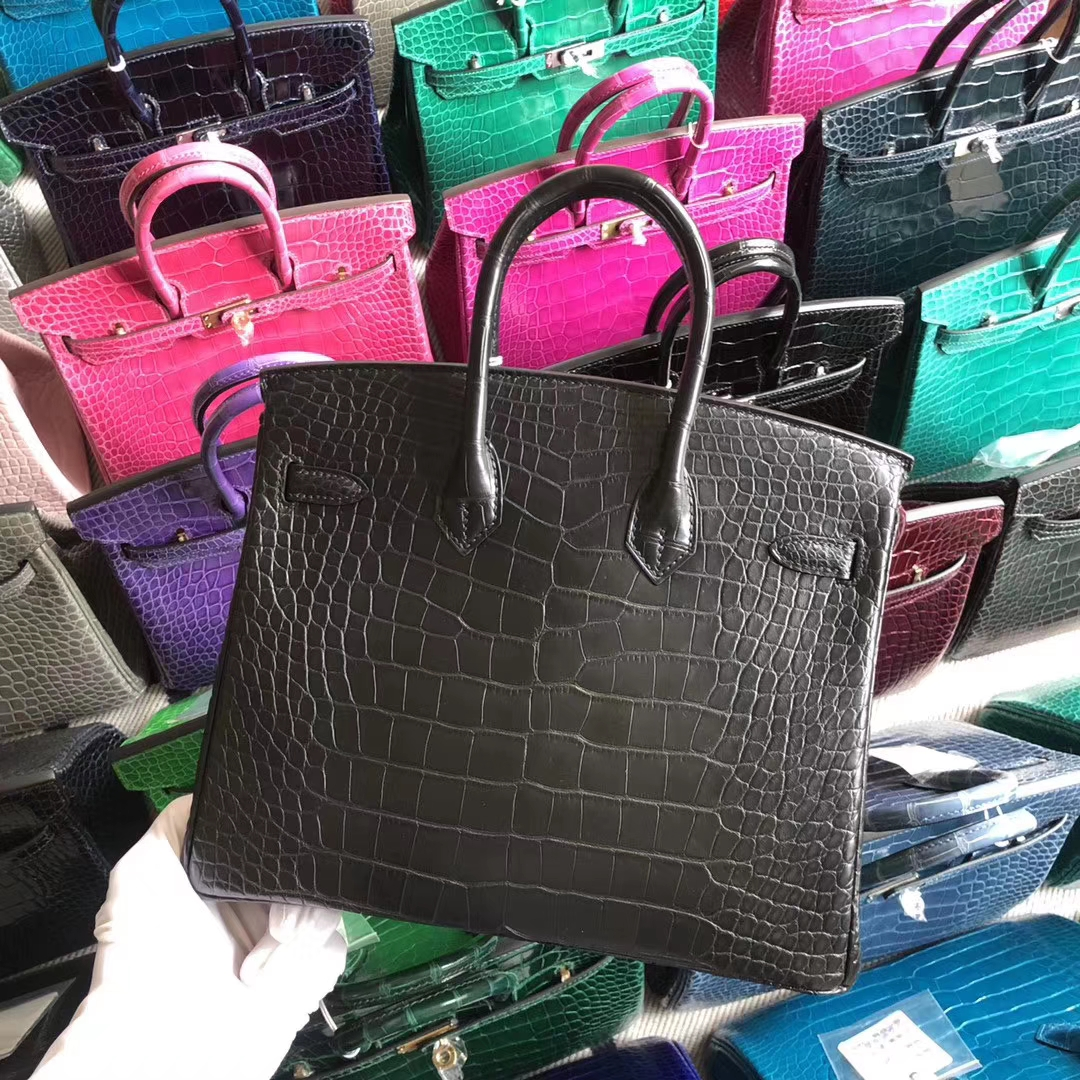 Stock Hermes CK89 Noir Matt Crocodile Birkin25CM Bag Gold Hardware