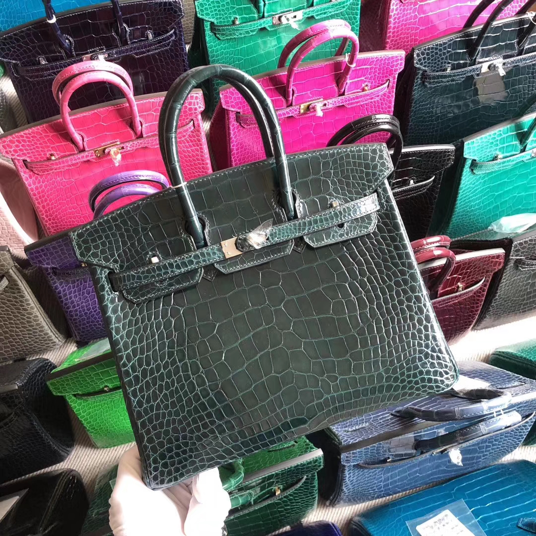 Stock Hermes Shiny Crocodile Birkin Bag25CM in 1P Blue Colvert Silver Hardware