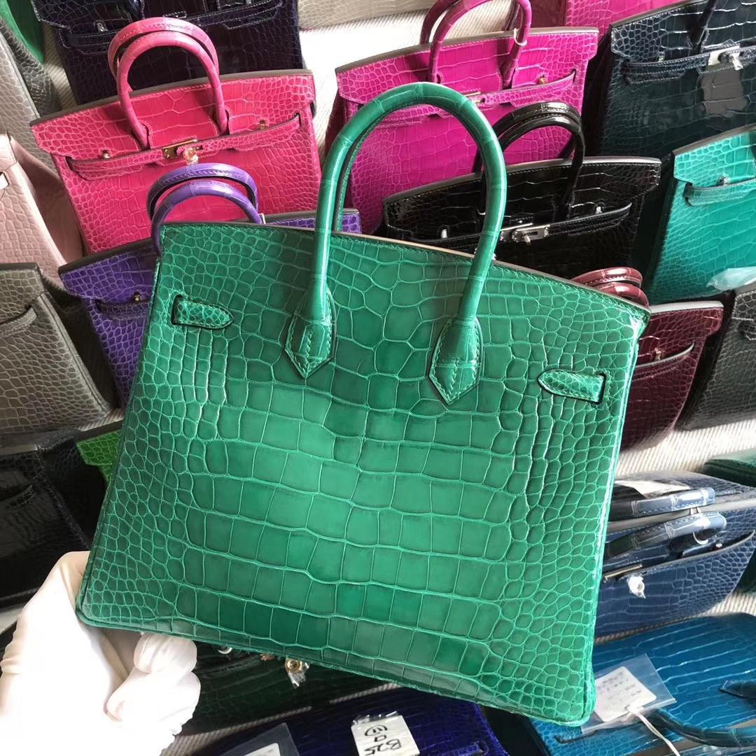 Stock Hermes Shiny Crocodile 6Q Vert Emerald Birkin25CM Bag Silver Hardware