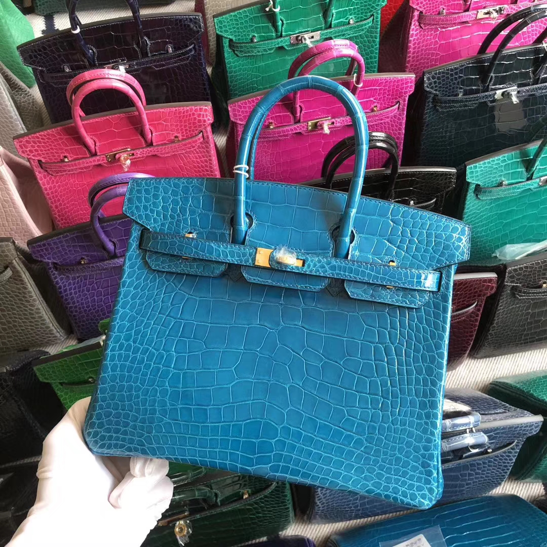 Stock Hermes 7W Blue Izmir Shiny Crocodile Birkin Bag25CM Gold Hardware