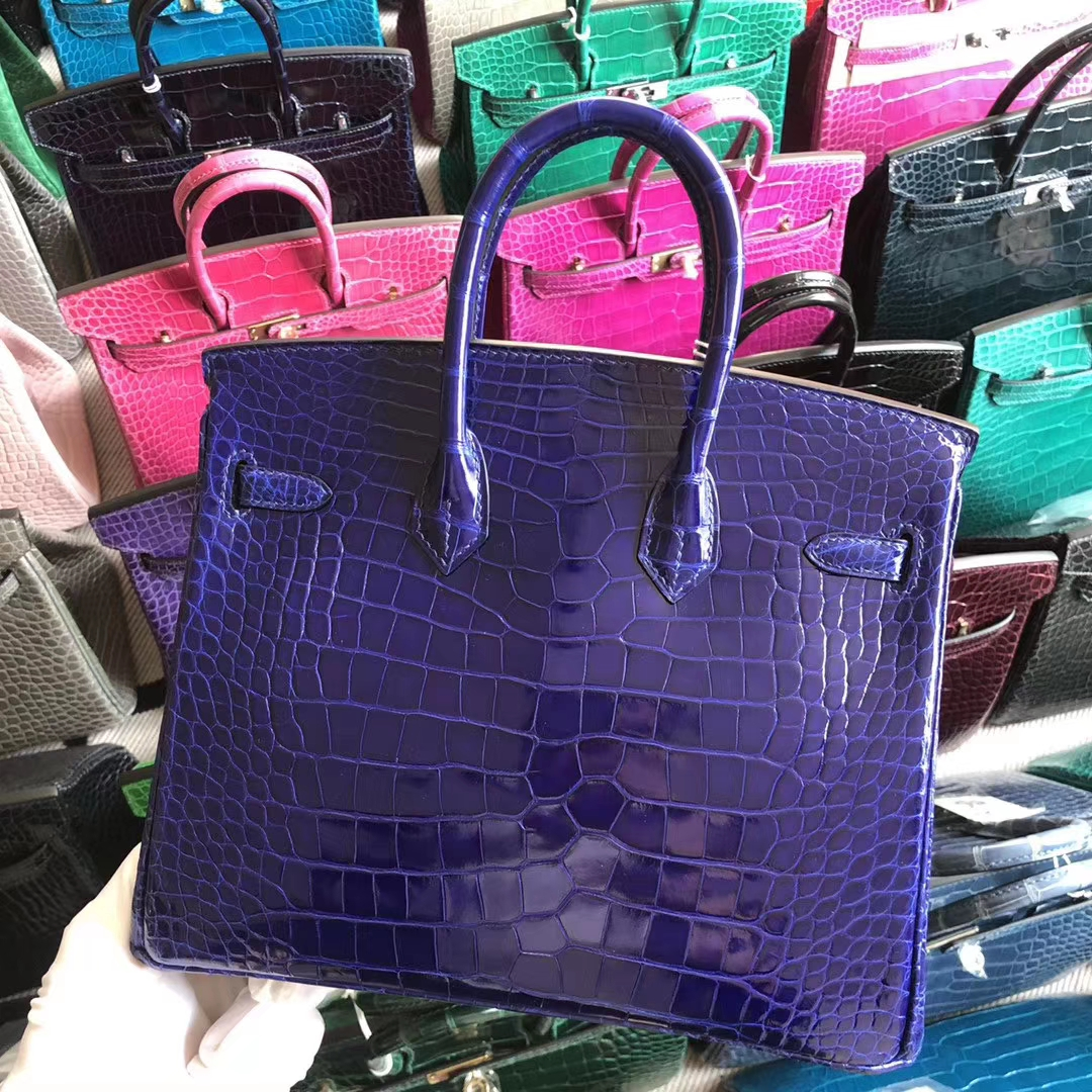 Stock Noble Hermes 7T Blue Electric Shiny Crocodile Birkin Bag25CM Silver Hardware