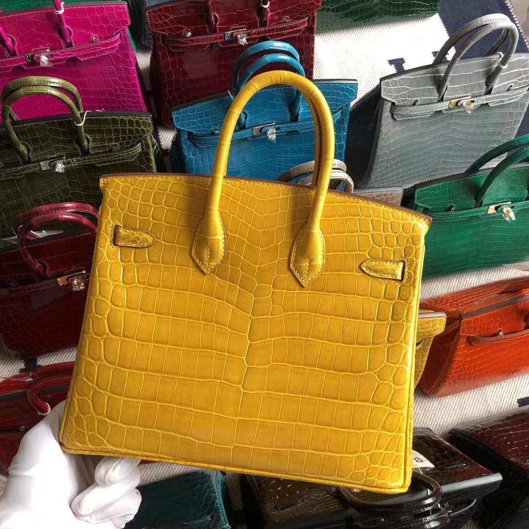 Stock Hermes Shiny Crocodile Birkin25cm Bag in 9D Ambre Yellow Gold Hardware