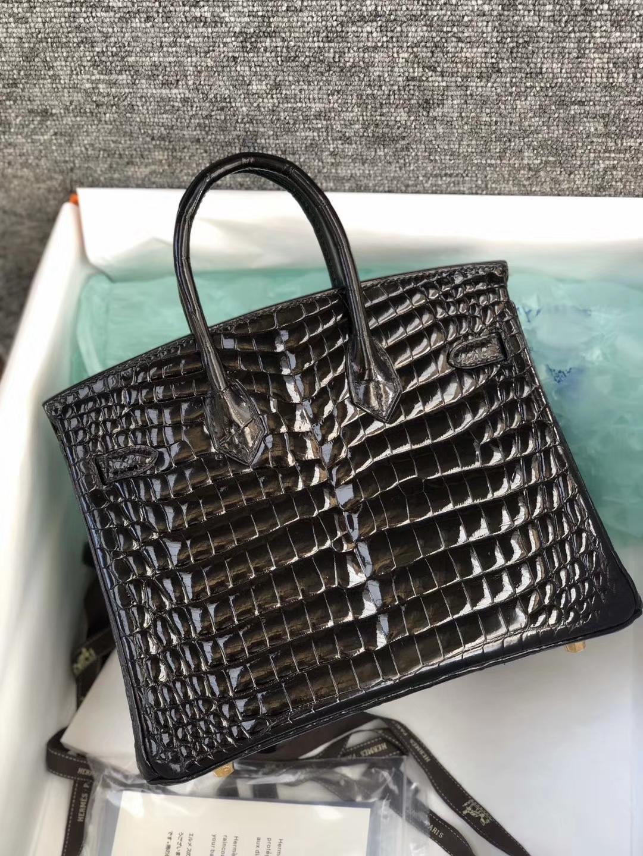 Stock Hermes CK89 Noir Shiny Crocodile Leather Birkin25CM Gold Hardware