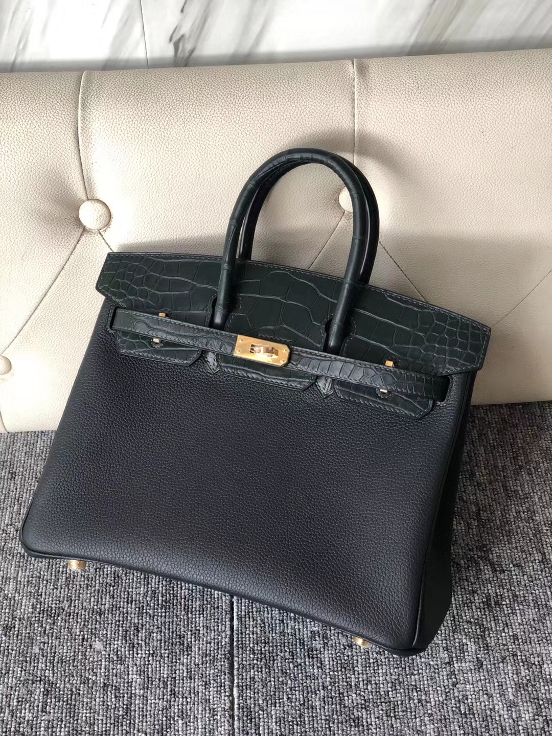 Customize Hermes 6O Vert Cypress Matt Crocodile/Togo Touch Birkin Bag25CM Gold Hardware