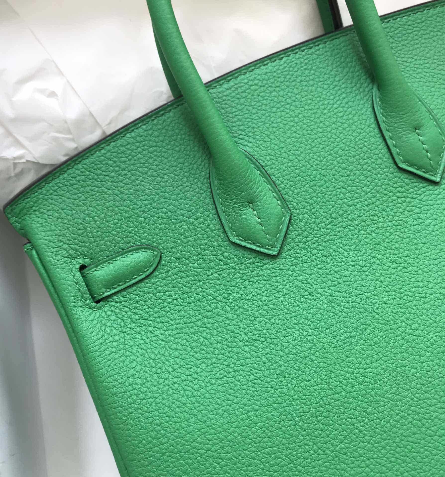 Stock Hermes 1K Bamboo Green Togo Calf Birkin Bag25CM Gold Hardware
