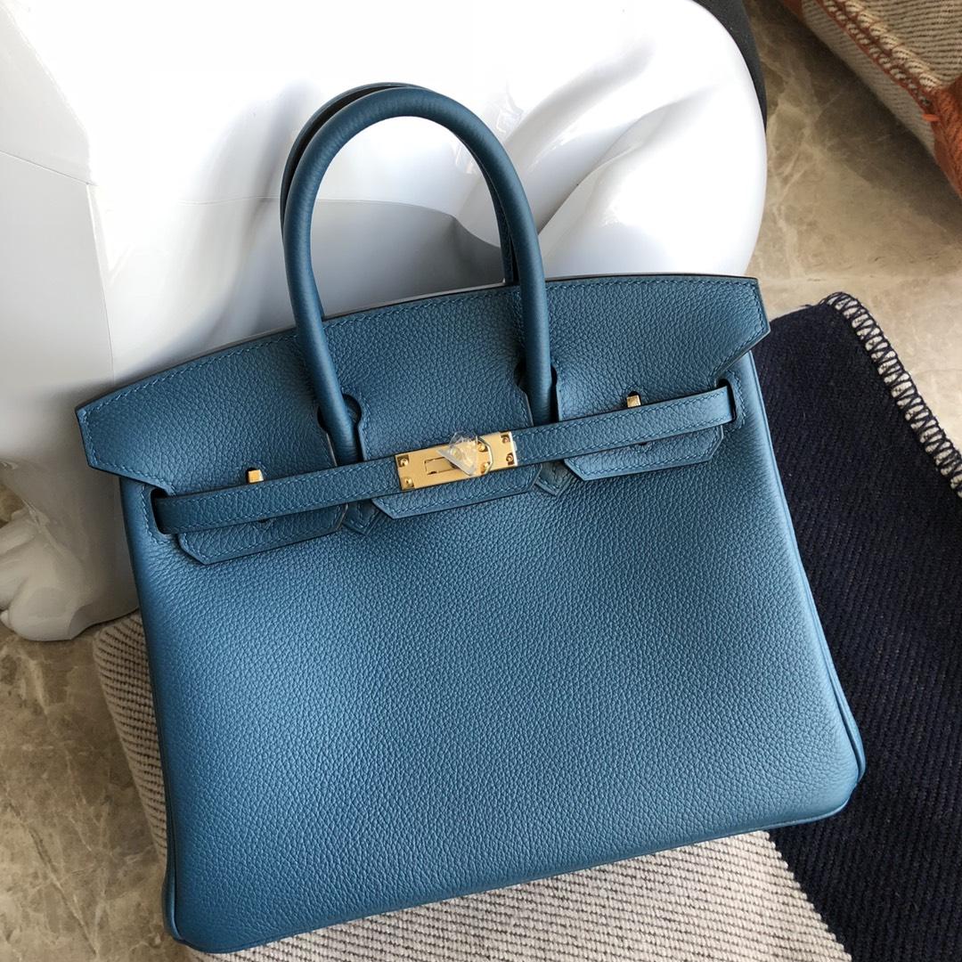 Stock Hermes CK75 Blue Jean Togo Calf Birkin25CM Bag Gold Hardware
