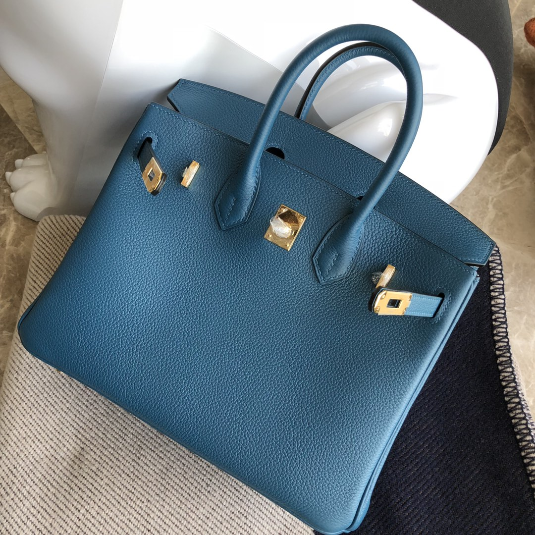 Stock Hermes CK75 Blue Jean Togo Calf Birkin25CM Bag Gold Hardware