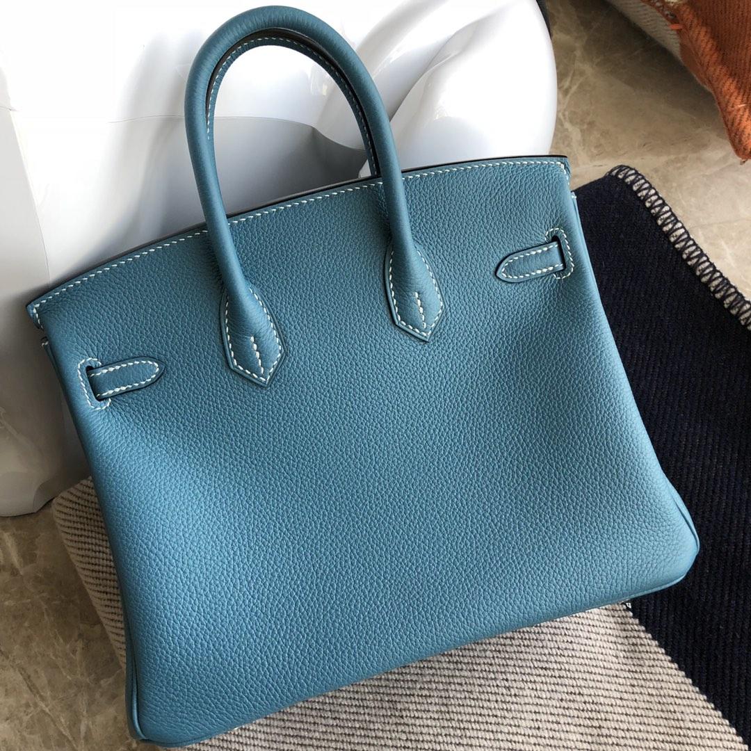 Stock Hermes Togo Calf Birkin Bag25CM in S7 Blue de Galice Gold Hardware