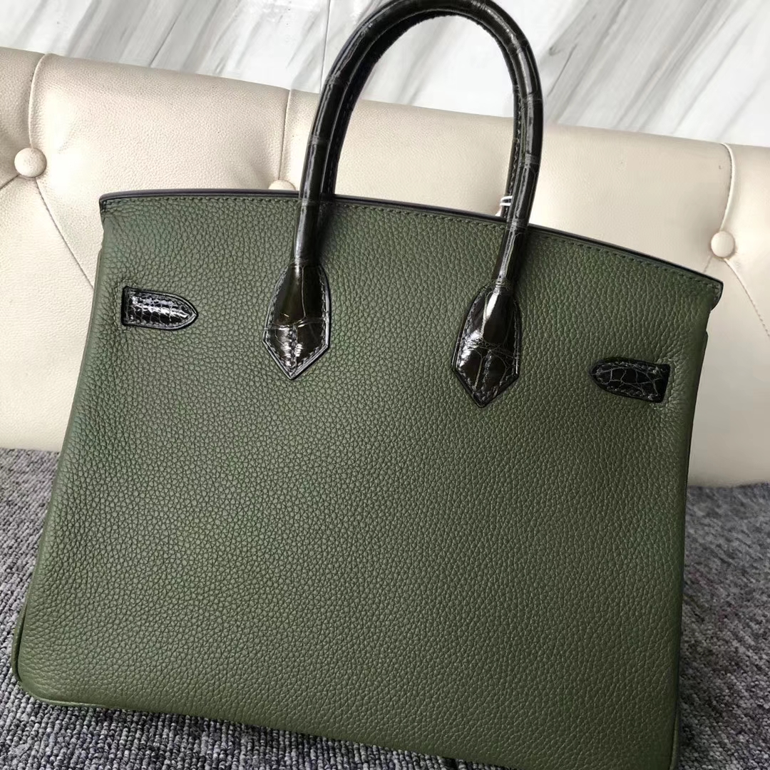 Customize Hermes V6 Vert Canopee Touch Series Birkin Bag25CM Silver Hardware