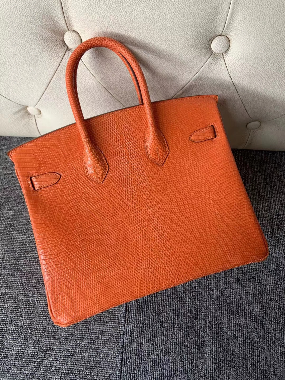 Customize Hermes Orange Shiny Lizard Birkin Bag25CM Silver Hardware