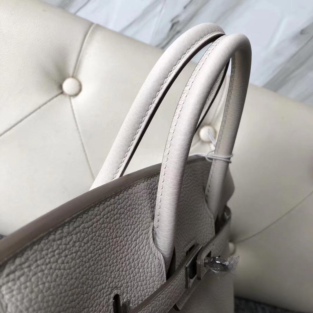Stock Hermes 8U Blue Glacier Togo Calf Birkin Bag25CM Silver/Gold Hardware