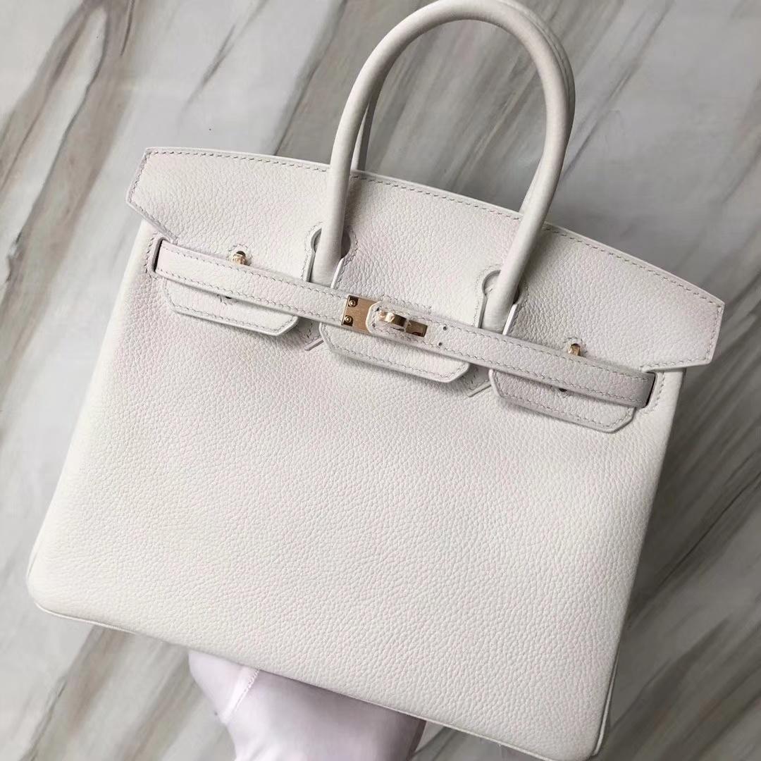 Stock Hermes Togo Calf 01 Pure White Birkin Bag25CM Gold/Silver Hardware