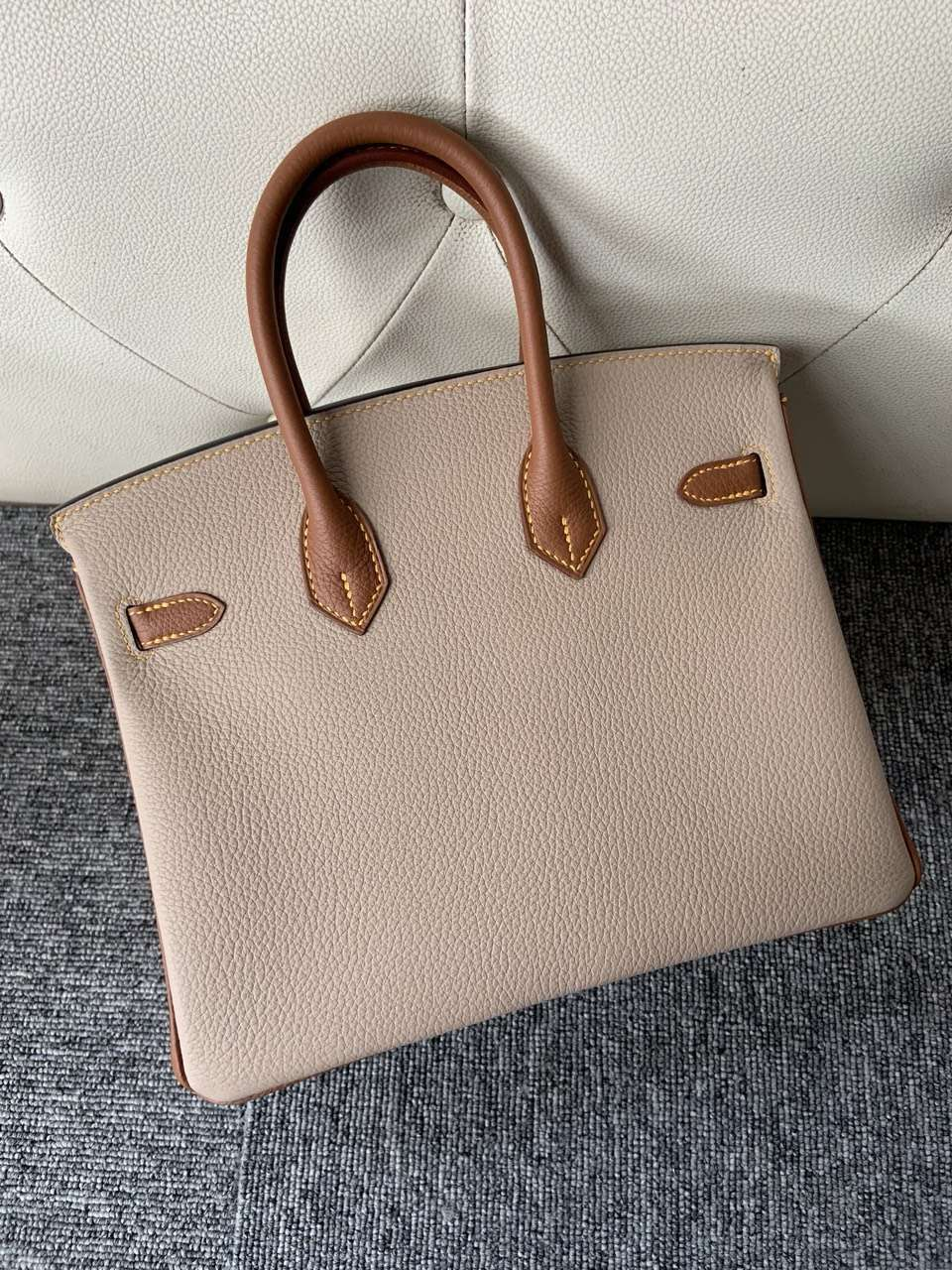 Customize Hermes Two Color Togo Calf Birkin25CM Bag Gold Hardware