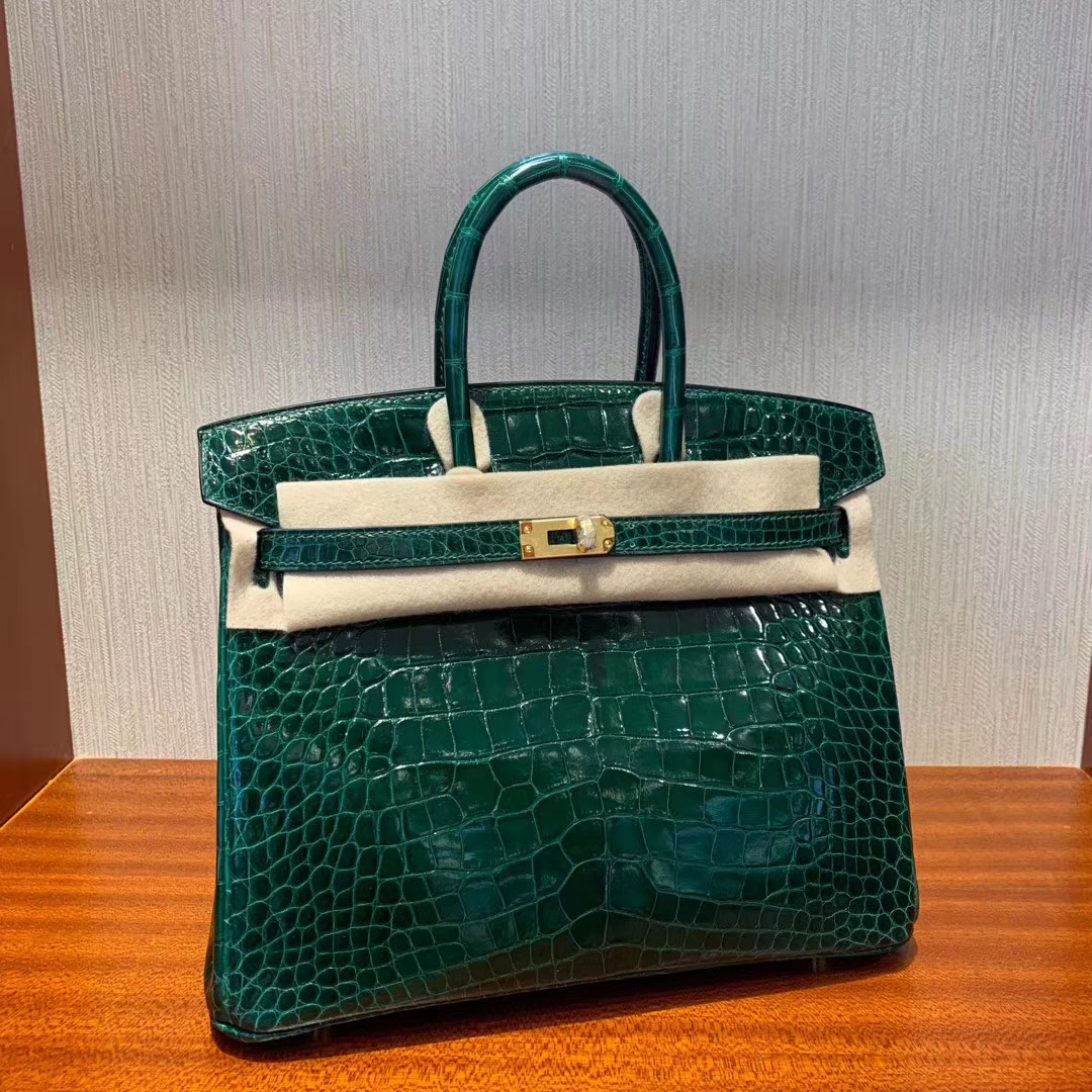 Stock Hermes CK67 Vert Fonce Shiny Crocodile Birkin Bag25cm Gold Hardware