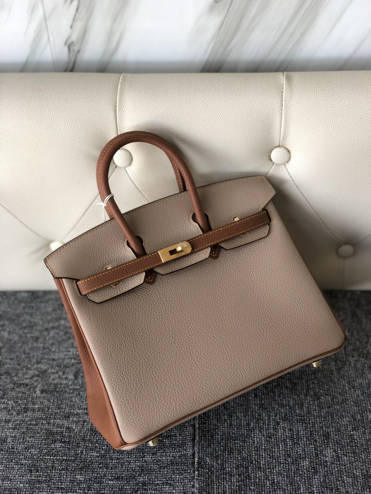 Customize Hermes S2 Trench Gris/CK37 Gold Togo Birkin25cm Bag Gold Hardware