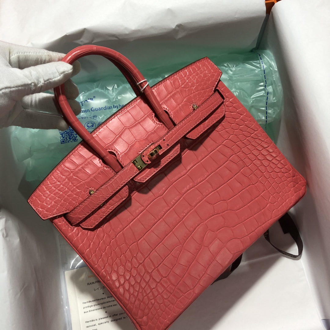 Discount Hermes A5 Bougainvillier Matt Crocodile Birkin25cm Bag Gold Hardware