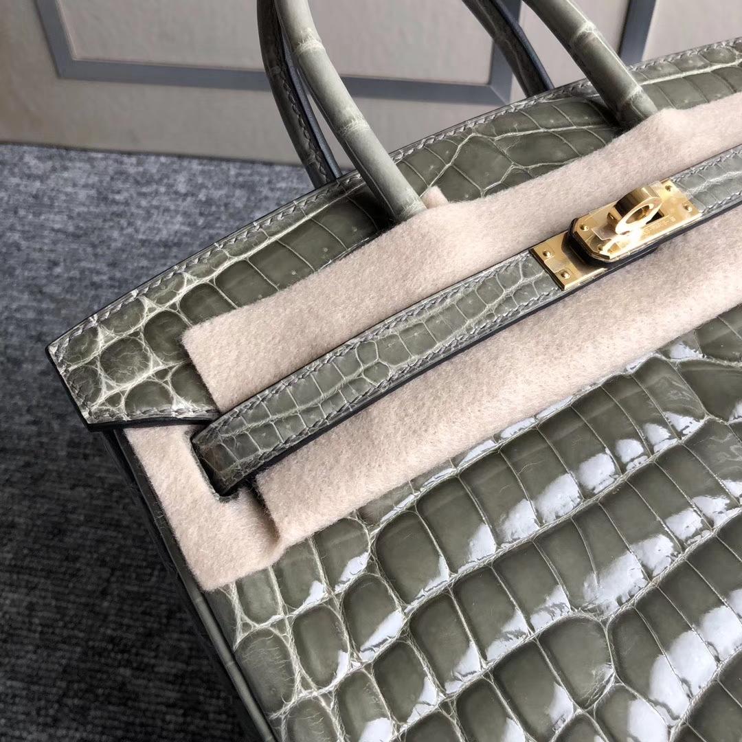 Stock Hermes Shiny Crocodile Birkin Bag25cm CK81 Gris T Gold Hardware