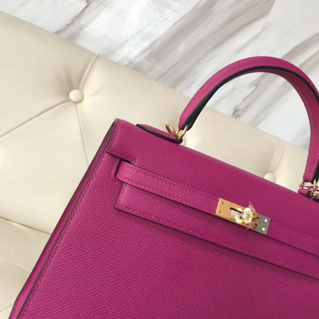 Wholesale Hermes L3 Rose Purple Epsom Calf Sellier Kelly25CM Bag Gold Hardware