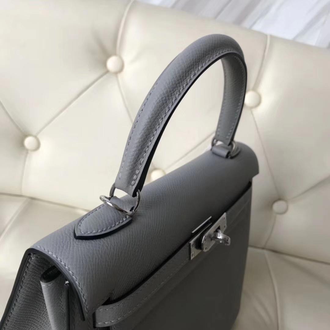 New Arrival Hermes Epsom Calf Kelly Bag25CM in 4Z Gris Mouette Silver Hardware