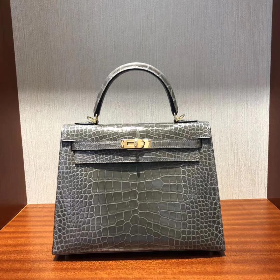 Discount Hermes Shiny Alligator Crocodile Kelly25CM Bag in CK81 Gris Tourterelle