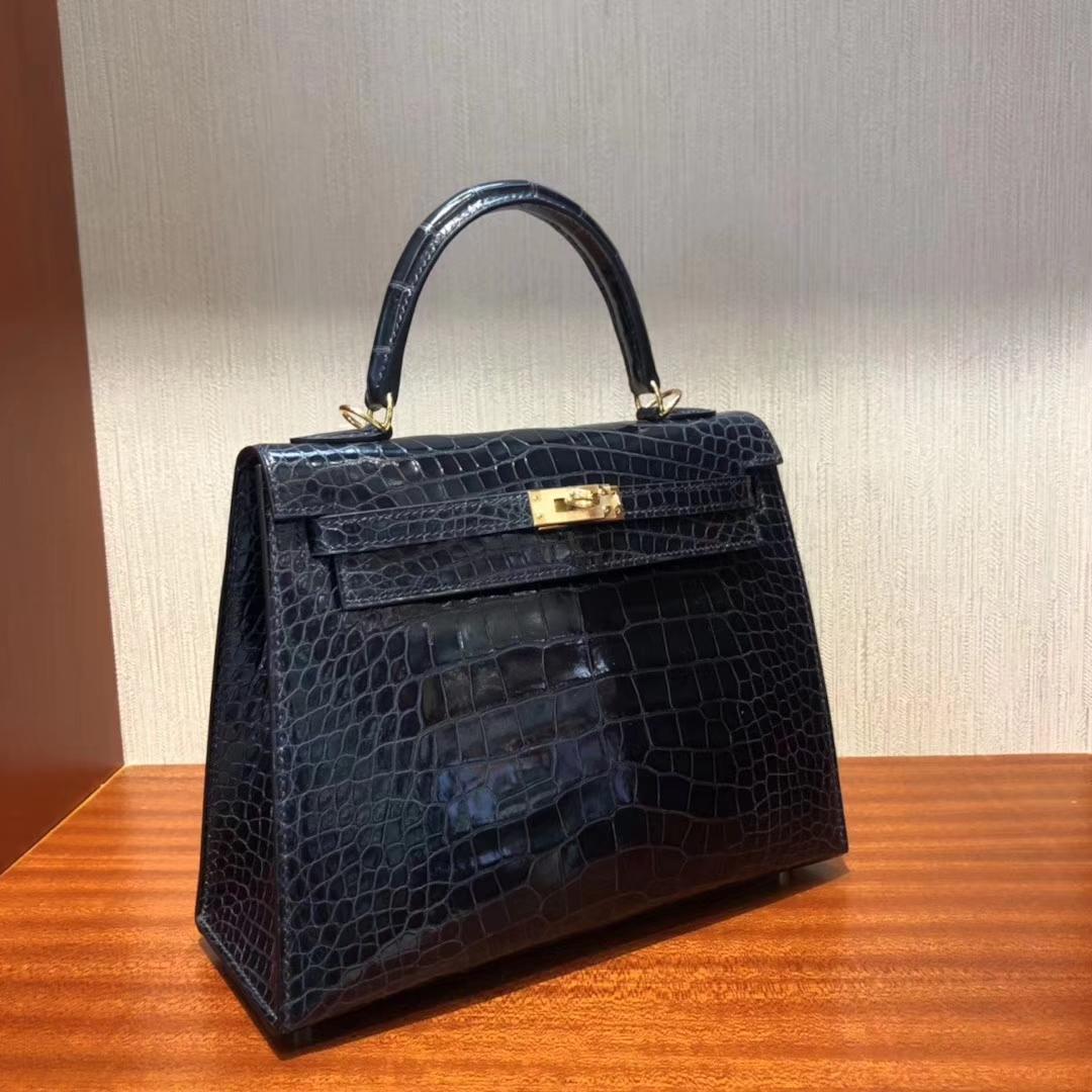Wholesale Hermes 7K Blue Saphir Shiny Crocodile Leather Kelly25CM Gold Hardware