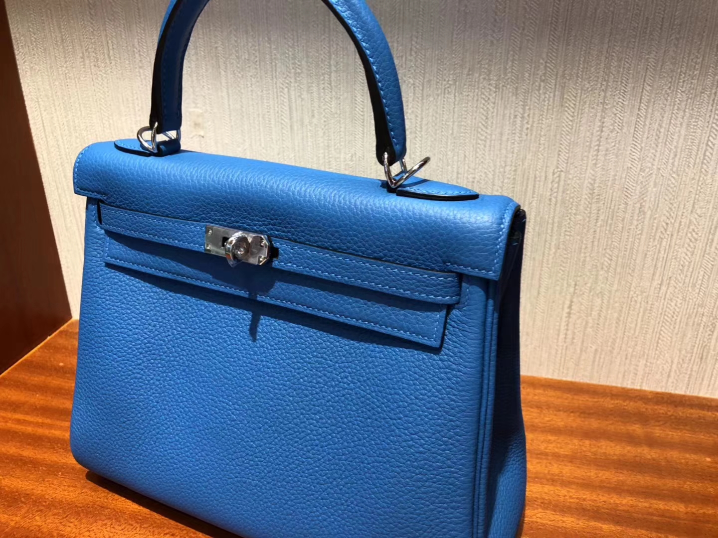 Discount Hermes Togo Calf Leather Kelly Bag25CM in B3 Blue Zanzibar Silver Hardware