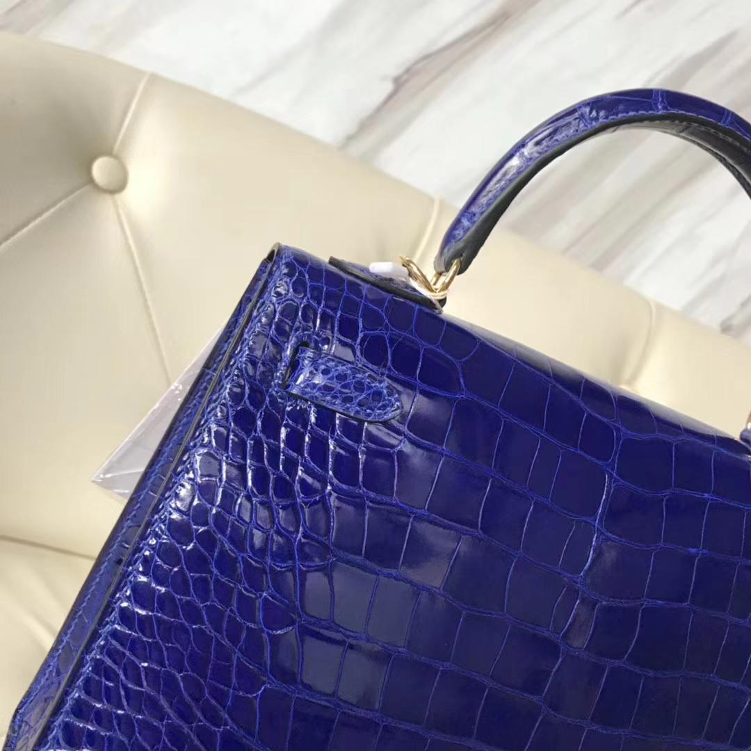 Luxury Hermes 7T Blue Eletric Shiny Crocodile Leather Kelly25CM Bag Gold Hardware