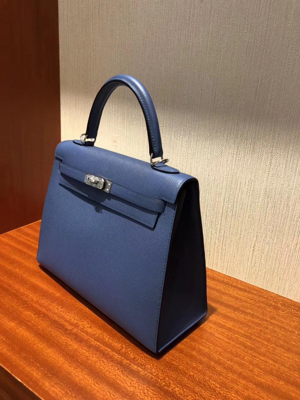 New Arrival Hermes 7R Blue Azur Epsom Calf Kelly25CM Bag Silver Hardware