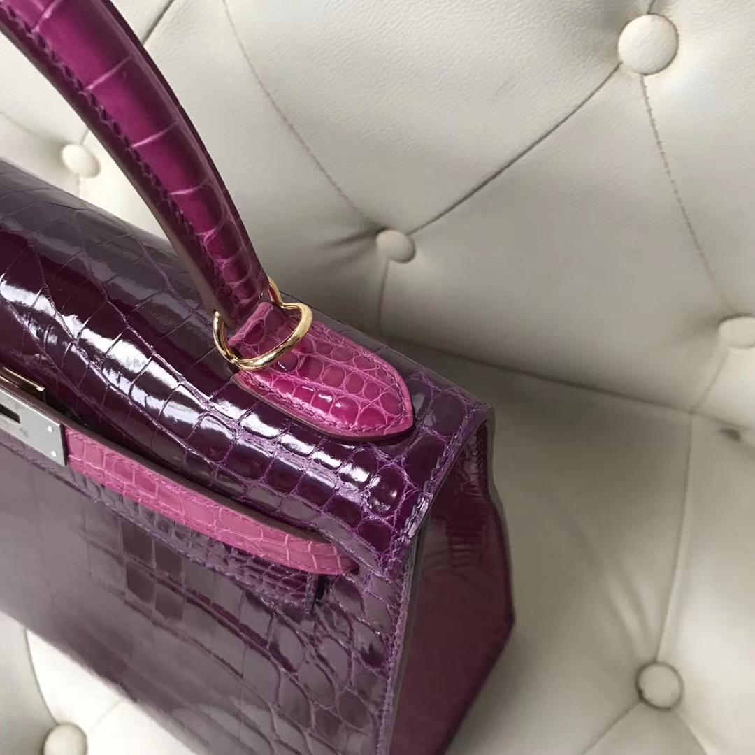Luxury Hermes N5 Cassis Purple/J5RoseScheherazade Crocodile Leather Kelly25CM Bag