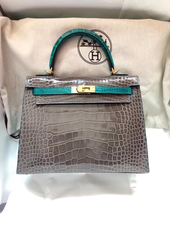 Hand Stitching Hermes Tri-color Shiny Crocodile Leather Kelly25CM Bag Gold Hardware