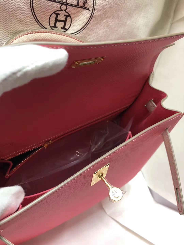 Discount Hermes Epsom Calf Kelly Bag25CM in 8W Rose Azalee/CK10 Craie White Gold Hardware