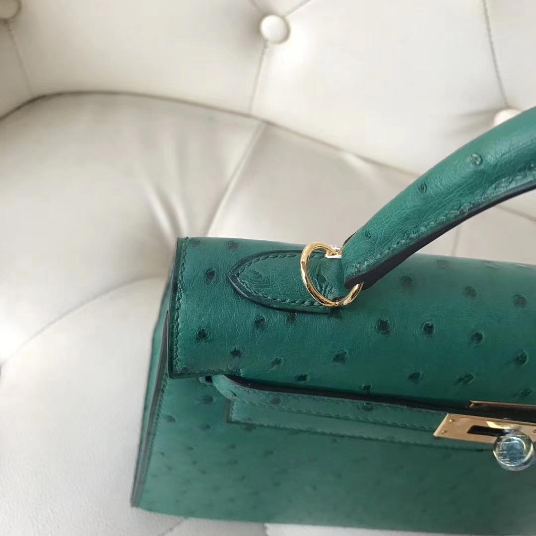 Fashion Hermes U4 Vert Verigo Ostrich Leather Kelly Bag25CM Gold Hardware