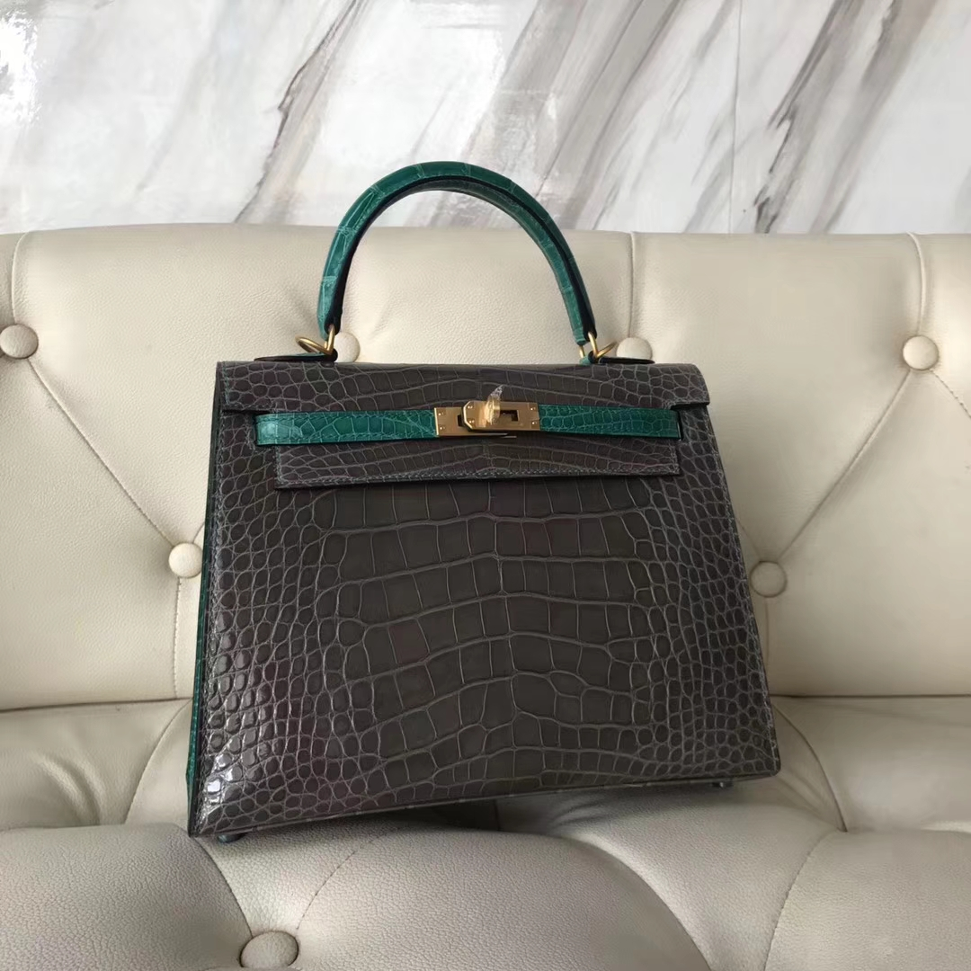 Luxury Hermes CK81 Gris Tourterelle/6Q Emerald Green Shiny Crocodile Kelly25CM Bag