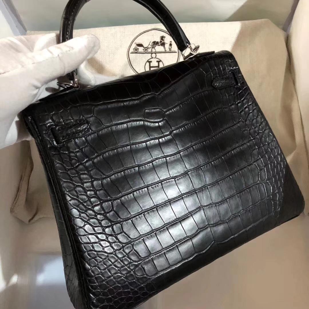 Elegant Hermes CK89 Black MattCrocodile Leather Kelly Bag25CM Silver Hardware